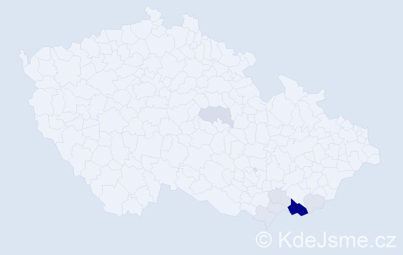 Příjmení: 'Bančáková', počet výskytů 26 v celé ČR
