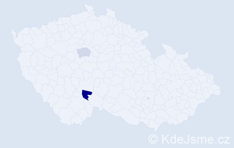 Příjmení: 'Krapítková', počet výskytů 3 v celé ČR