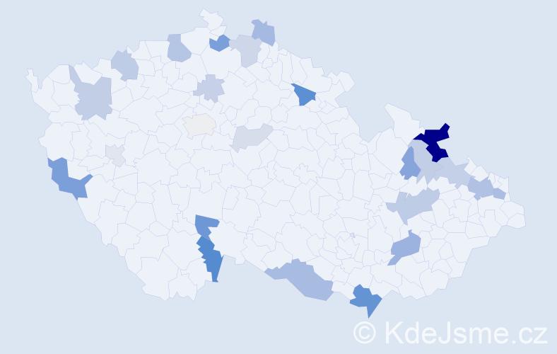 Příjmení: 'Kelemen', počet výskytů 67 v celé ČR