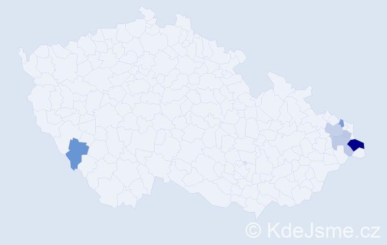 Příjmení: 'Capcara', počet výskytů 12 v celé ČR