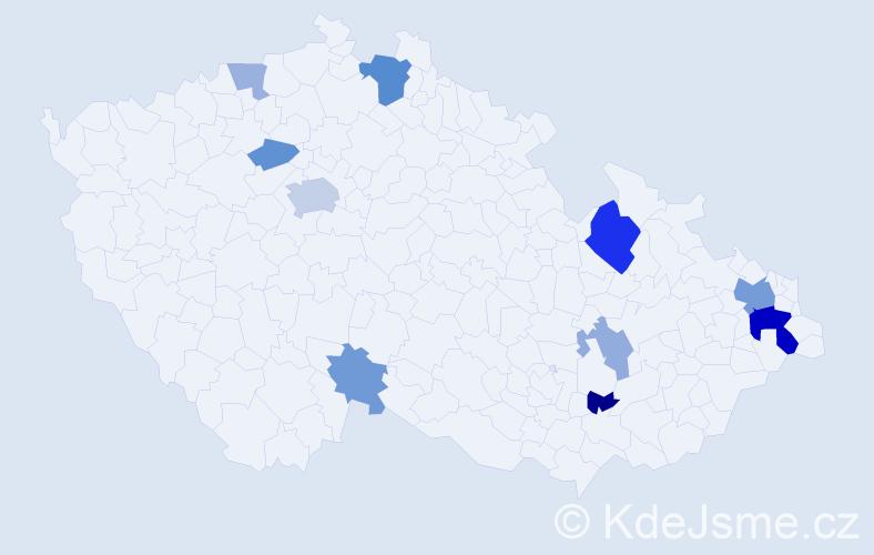 Příjmení: 'Čupková', počet výskytů 24 v celé ČR