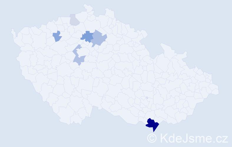 Příjmení: 'Čerešna', počet výskytů 18 v celé ČR