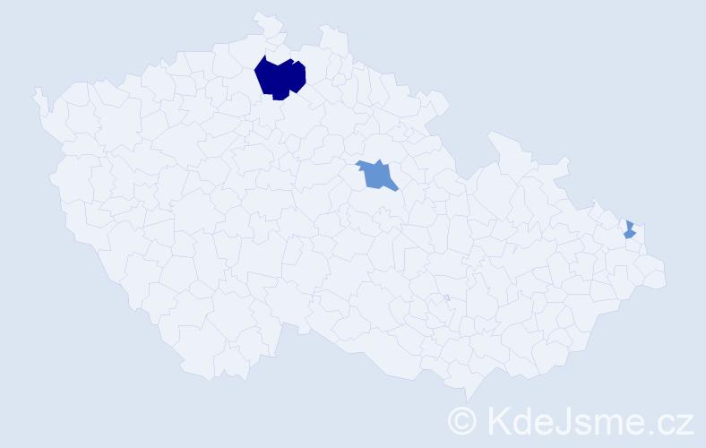 Příjmení: 'Ilovský', počet výskytů 7 v celé ČR