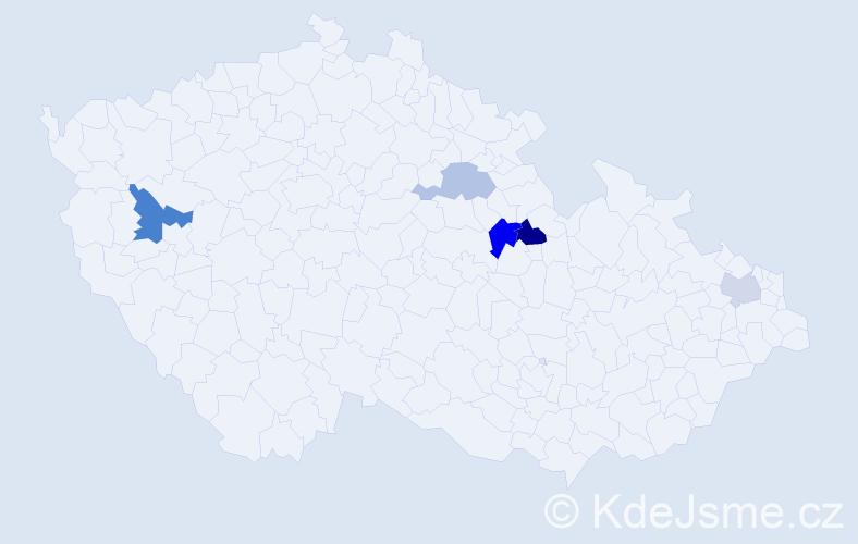 Příjmení: 'Jendek', počet výskytů 8 v celé ČR