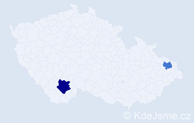 Příjmení: 'Balfe', počet výskytů 2 v celé ČR