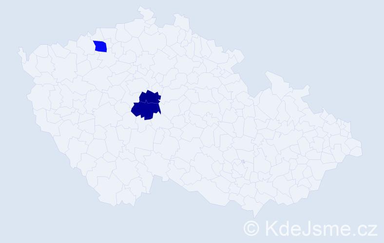 Příjmení: 'Haldeková', počet výskytů 6 v celé ČR