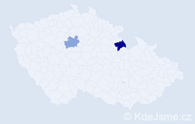 Příjmení: 'Kerhat', počet výskytů 12 v celé ČR