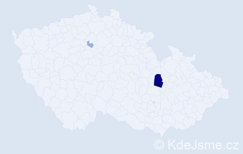 Příjmení: 'Daul', počet výskytů 6 v celé ČR