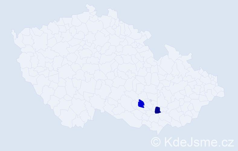 Příjmení: 'Juřeček', počet výskytů 2 v celé ČR