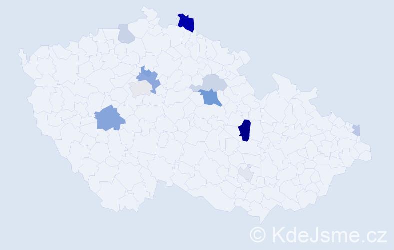 Příjmení: 'Angelová', počet výskytů 22 v celé ČR