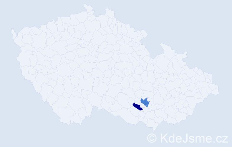 Příjmení: 'Klosnarová', počet výskytů 6 v celé ČR