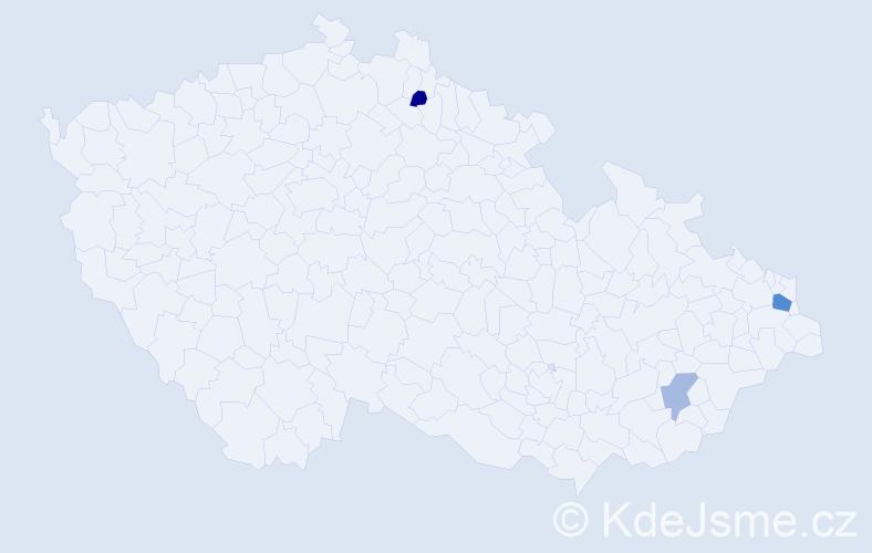 Příjmení: 'Ikášová', počet výskytů 5 v celé ČR