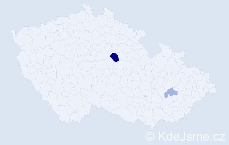 Příjmení: 'Ďulina', počet výskytů 3 v celé ČR