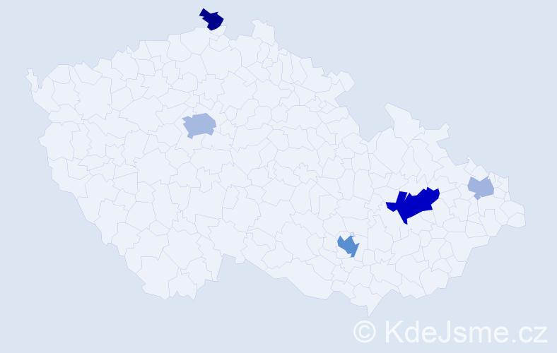 Příjmení: 'Banat', počet výskytů 11 v celé ČR