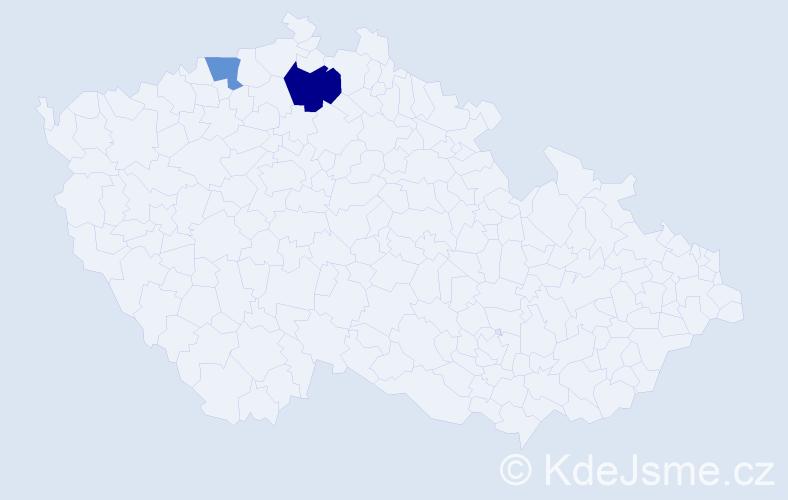 Příjmení: 'Dánišová', počet výskytů 3 v celé ČR