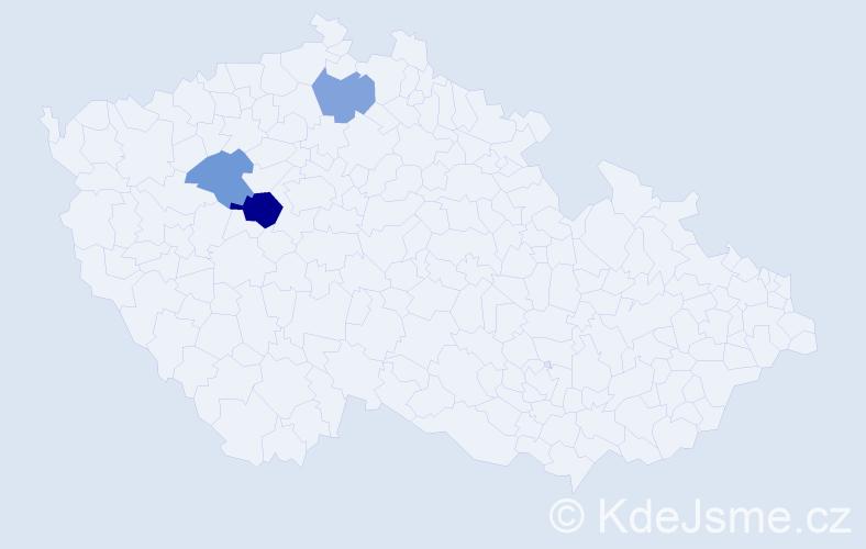 Příjmení: 'Hannachi', počet výskytů 5 v celé ČR