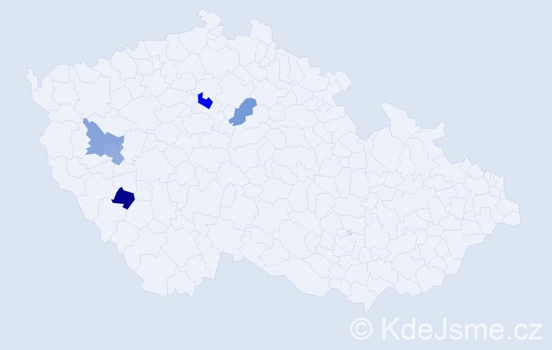 Příjmení: 'Hejtmancová', počet výskytů 7 v celé ČR