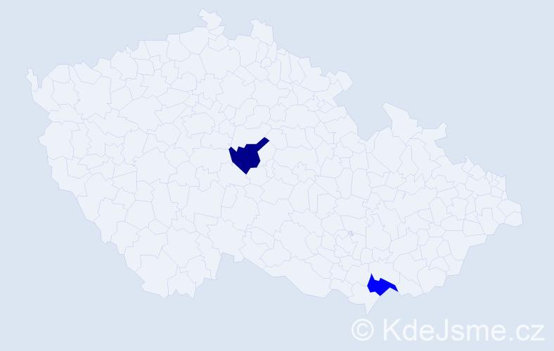 Příjmení: 'Damčová', počet výskytů 2 v celé ČR