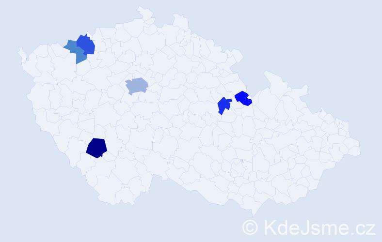 Příjmení: 'Gvoždiaková', počet výskytů 12 v celé ČR
