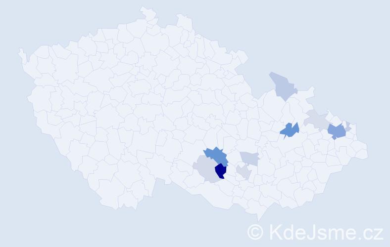 Příjmení: 'Augustýnková', počet výskytů 26 v celé ČR