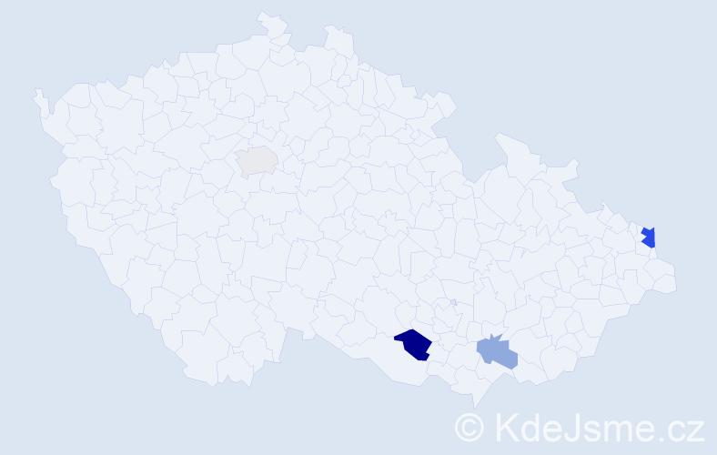 Příjmení: 'Dancák', počet výskytů 8 v celé ČR
