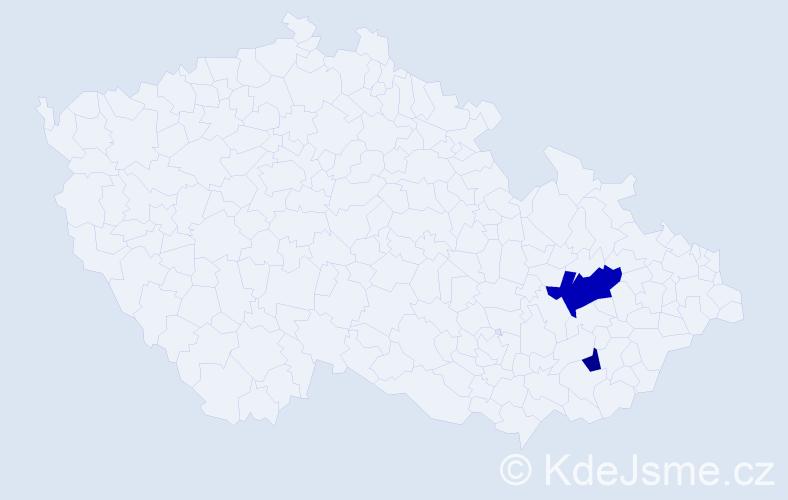 Příjmení: 'Jedenástíková', počet výskytů 4 v celé ČR