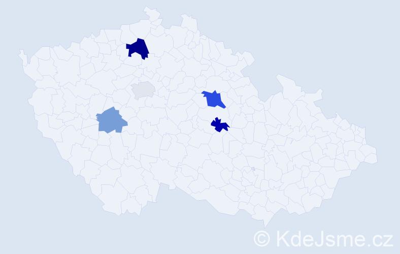 Příjmení: 'Dastlík', počet výskytů 9 v celé ČR