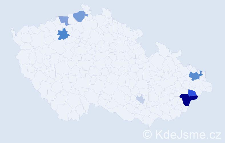 Příjmení: 'Bardasová', počet výskytů 13 v celé ČR