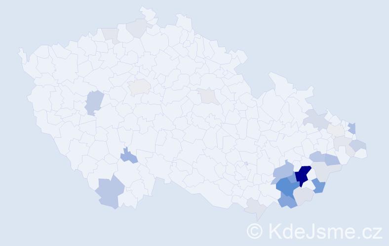 Příjmení: 'Kaláčová', počet výskytů 92 v celé ČR