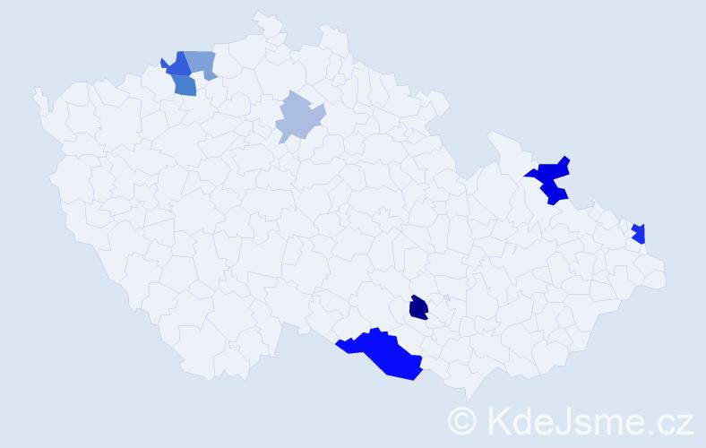 Příjmení: 'Hakszer', počet výskytů 22 v celé ČR