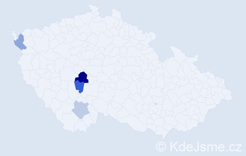 Příjmení: 'Hermer', počet výskytů 5 v celé ČR