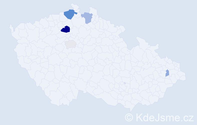 Příjmení: 'Laczová', počet výskytů 13 v celé ČR