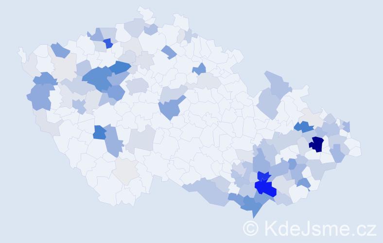 Příjmení: 'Hasalová', počet výskytů 346 v celé ČR