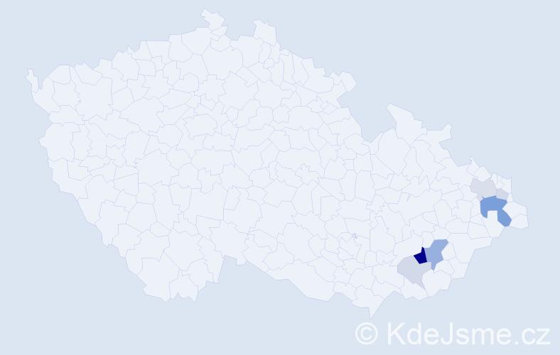 Příjmení: 'Harník', počet výskytů 19 v celé ČR