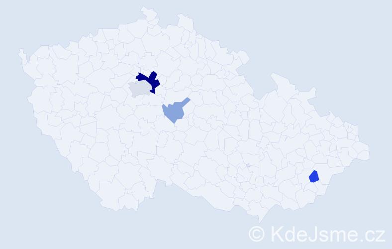 Příjmení: 'Jumarová', počet výskytů 12 v celé ČR