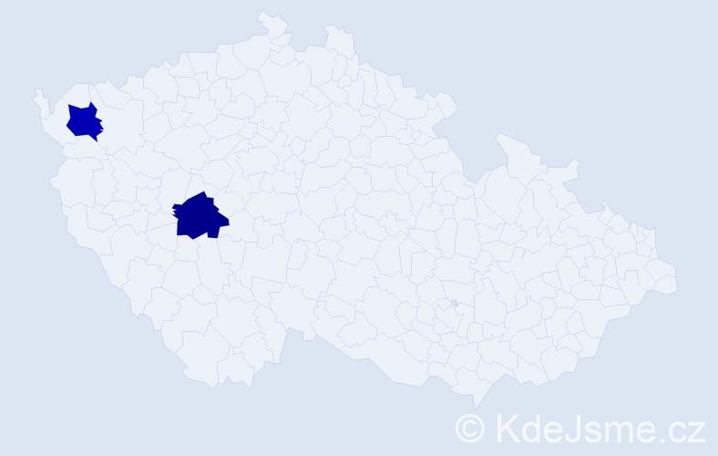 Příjmení: 'Holoďák', počet výskytů 2 v celé ČR