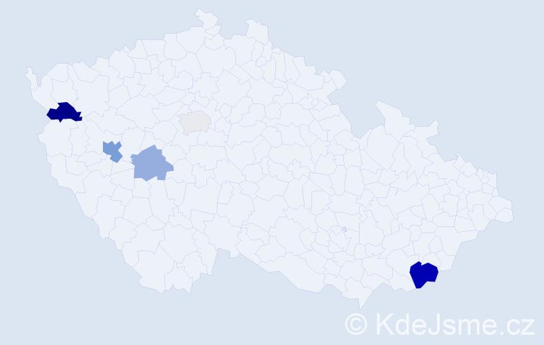 Příjmení: 'Dulo', počet výskytů 11 v celé ČR