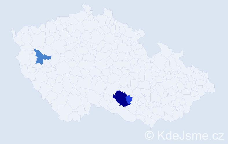 Příjmení: 'Jablonci', počet výskytů 12 v celé ČR