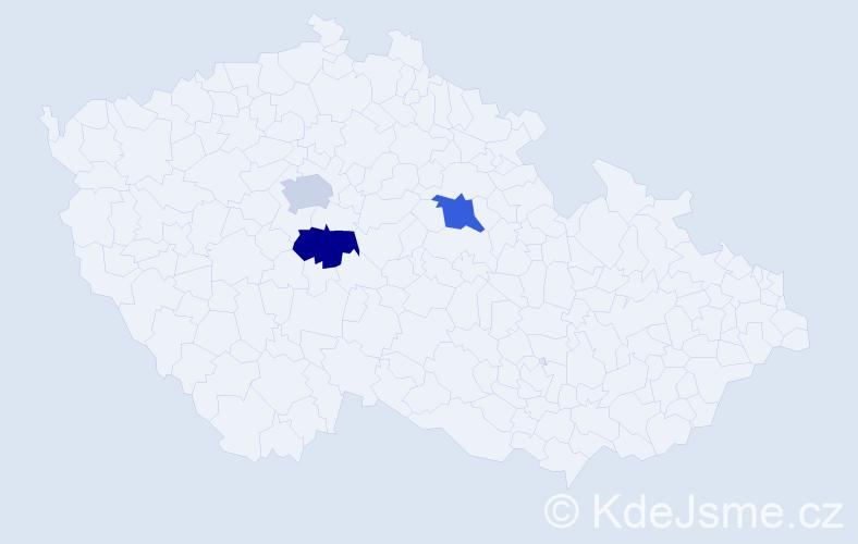 Příjmení: 'Aleksiev', počet výskytů 3 v celé ČR