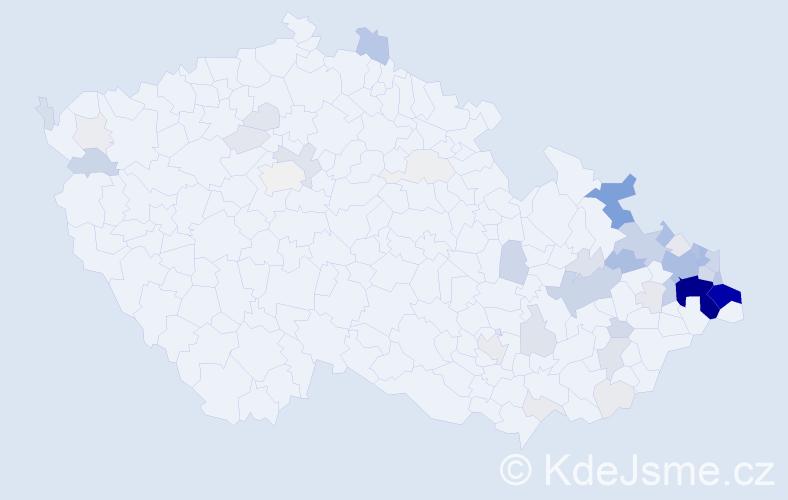 Příjmení: 'Chlebek', počet výskytů 266 v celé ČR