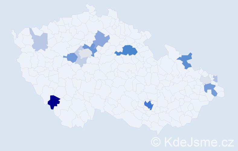 Příjmení: 'Bednarčík', počet výskytů 41 v celé ČR