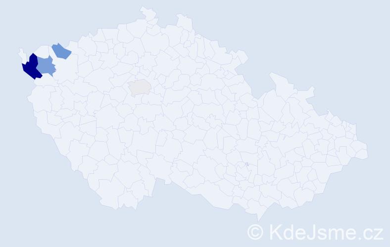 Příjmení: 'Gbur', počet výskytů 9 v celé ČR