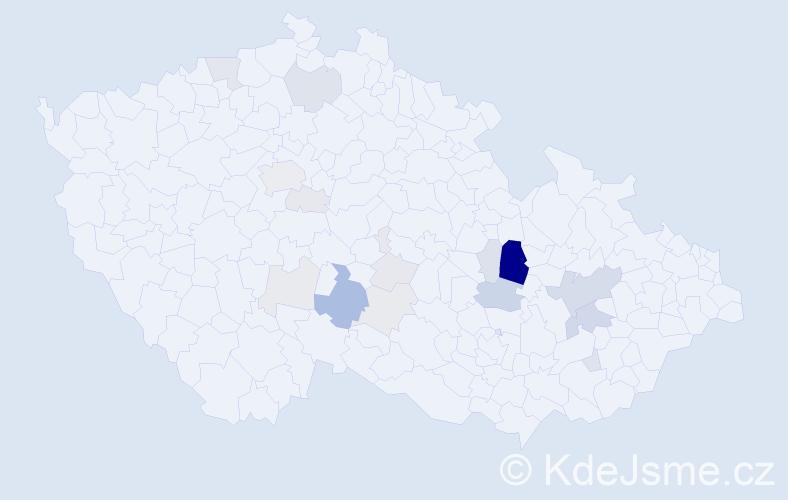 Příjmení: 'Hensl', počet výskytů 54 v celé ČR