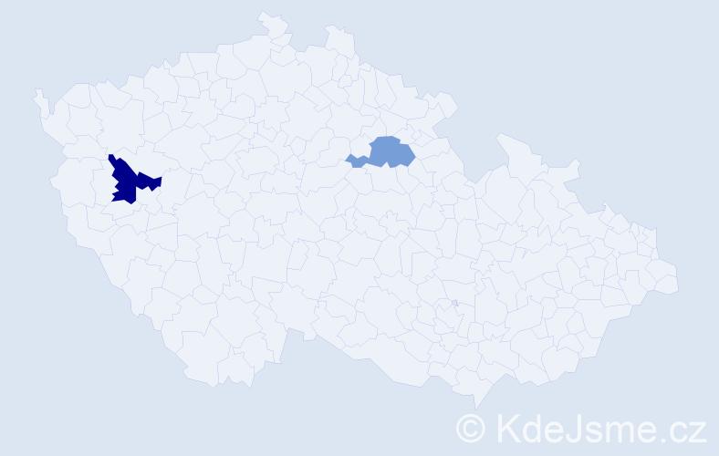 Příjmení: 'Hisirová', počet výskytů 8 v celé ČR
