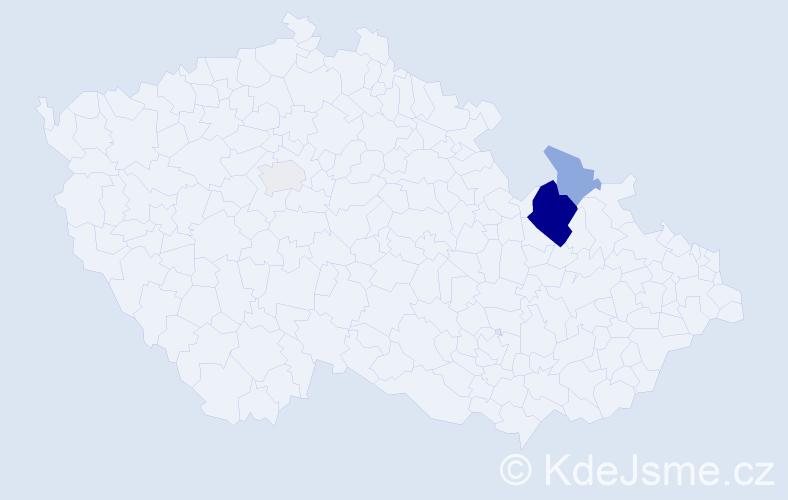 Příjmení: 'Czastek', počet výskytů 10 v celé ČR