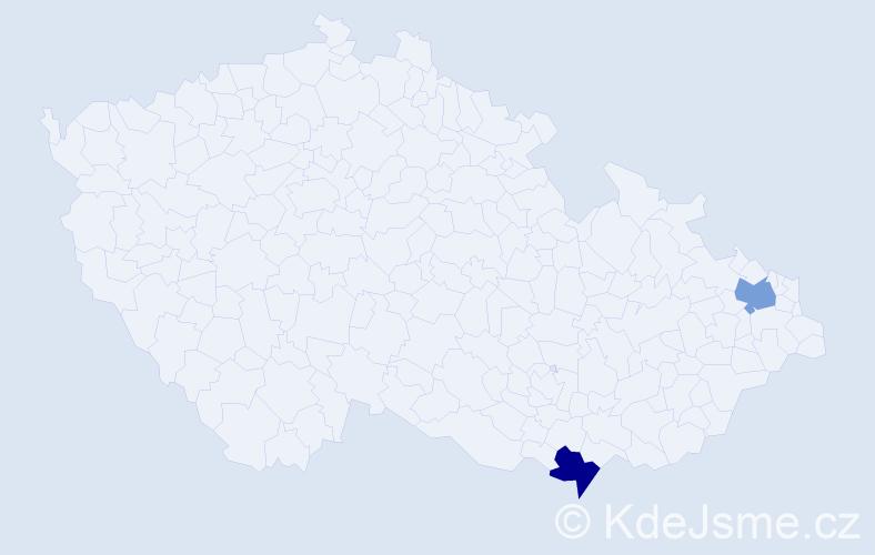 Příjmení: 'Haragaľ', počet výskytů 2 v celé ČR