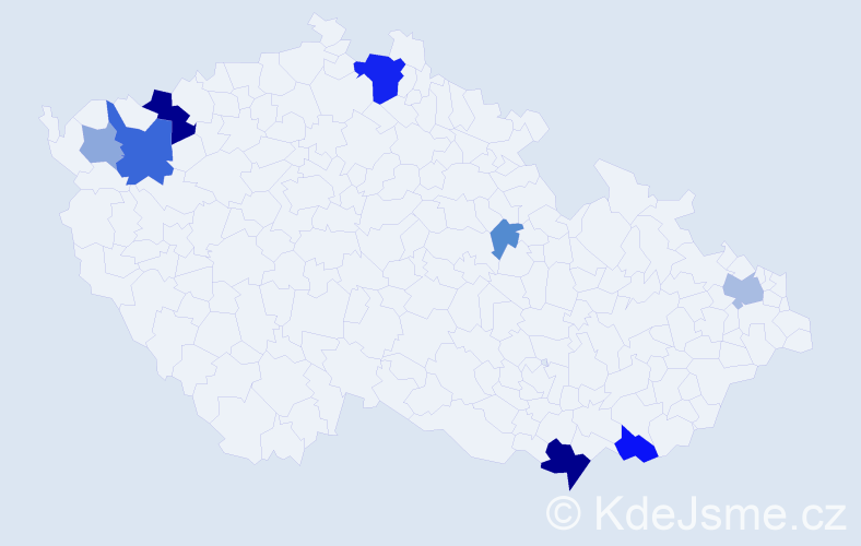Příjmení: 'Áčová', počet výskytů 21 v celé ČR