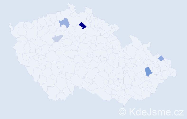 Příjmení: 'Bíbrlík', počet výskytů 20 v celé ČR