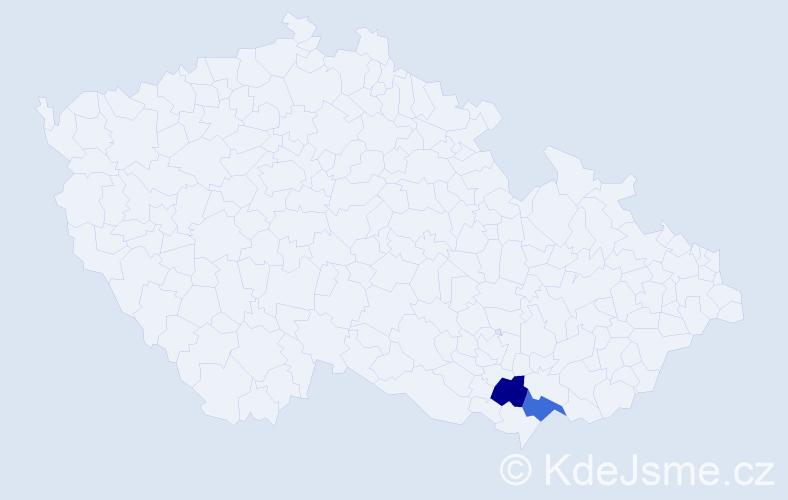 Příjmení: 'Hainka', počet výskytů 2 v celé ČR