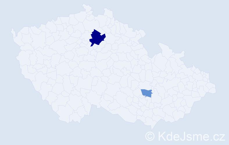 Příjmení: 'Irainová', počet výskytů 5 v celé ČR